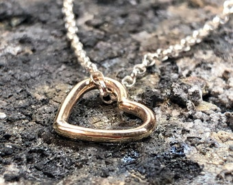 Solid 9ct Yellow Gold Heart Pendant with Sterling Silver Chain, Gold Heart Necklace, Heart Necklace, Necklace for Daughters, Gift for Her