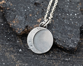 Handmade Sterling Silver New Moon Necklace|Sterling Silver Lunar Necklace|Silver New Moon Sphere Necklace|Silver Lunar Necklace|Gift for Her