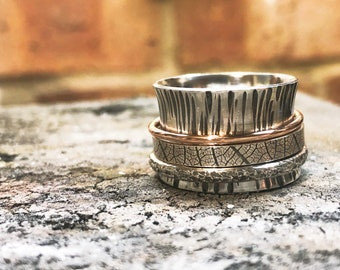 15mm Sterling Silver and 9ct Rose Gold Spinner Ring, Textured Spinner Ring, Botanic Spinner Ring, Meditation Ring, Worry Ring, Anxiety Ring