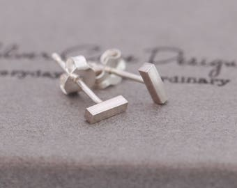 Pair of Small Sterling Silver Bar Stud Earrings, Unisex, Sterling Silver Staple Earrings, Sterling Silver Stick Studs, Minimalist Earrings