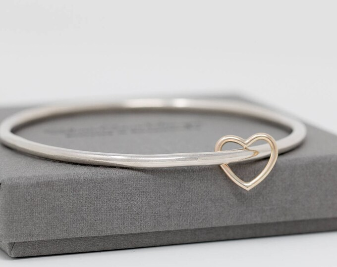 Sterling Silver Bangle with 9ct Gold Heart Charm|Sterling Silver Bangle with Heart Charm|Heart Bangle|Gold Heart Bangle|Valentine's Day Gift