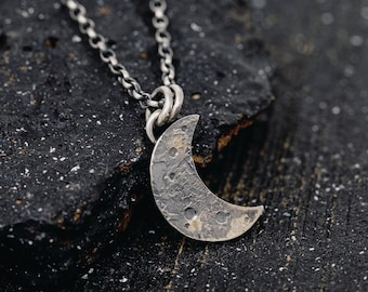 Sterling Silver&Gold Dust New Moon Necklace Sterling Silver Lunar Necklace Silver Crescent Moon Necklace Silver Lunar Necklace Gift for Her