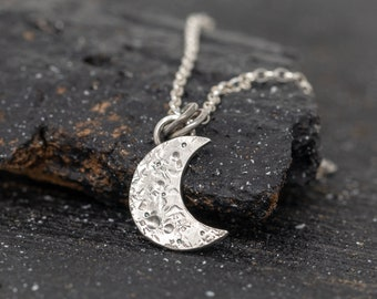 Handmade Sterling Silver New Moon Necklace, Lunar Necklace,Crescent Moon Necklace, Hand forged Lunar Pendant Charm, Gift for Her