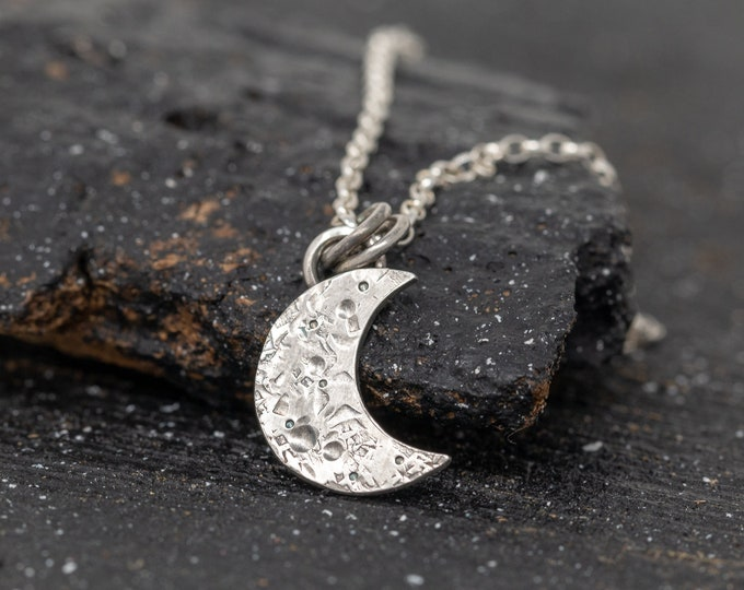 Handmade Sterling Silver New Moon Necklace|Sterling Silver Lunar Necklace|Silver Crescent Moon Necklace|Silver Lunar Necklace|Gift for Her