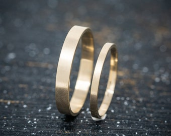 9ct Yellow Gold Wedding Ring Set, Handmade Gold Wedding Bands, Gold Flat Wedding Band Set, His and Her  Promise Rings, Matching Couple Rings