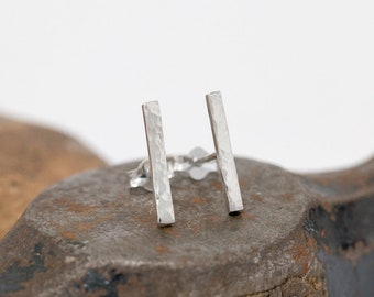 Sterling Silver Bar Stud Earrings|Hammered Silver Bar Earrings|Unisex Earrings|Sterling Silver Stick Studs|Minimalist Earrings|Gift for Her