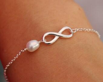 Sterling Silver Infinity Knot Bracelet|Infinity Bracelet|Pearl Bracelet|Bridal Bracelet|Infinity Knot Bridal Bracelet|Bridesmaids Bracelet