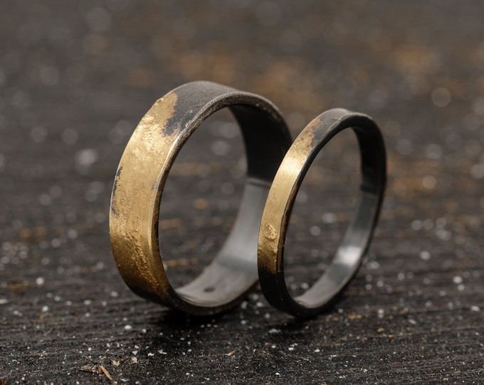 Sterling Silver & 24K gold Keum Boo Ring Set, Matching Rings, Unique Wedding Ring Set, Handmade Wedding Bands, Promise Ring Set