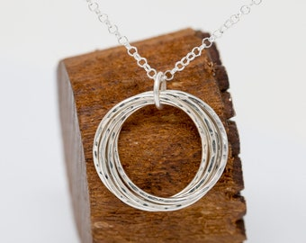 Sterling Silver 5 Circles Necklace|Russian Ring Necklace|Sterling Silver Circles Necklace|50th Birthday Gift|Gift for Mother|Gift for Her