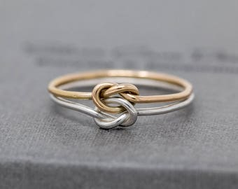 Sterling Silver&Gold Filled Knots Ring|Double Knotted Ring|2 Knots Ring|Knot Ring|Promise Ring|Friendship Ring|Bridesmaids Ring|Gift for Her