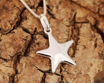 Sterling Silver Star Pendant Necklace, Silver Star Necklace, Wishing Star Necklace, Lucky Star Necklace, Gift for Her, Birthday Gift