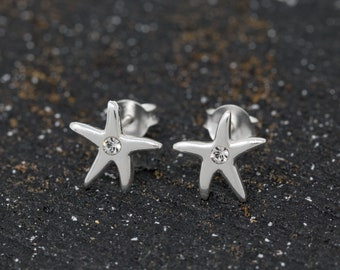 Sterling Silver Star Earrings With CZ|Wishing Star Earrings|Sterling Silver Wishing Star Stud Earrings|Silver Star Earrings|Gift for Her