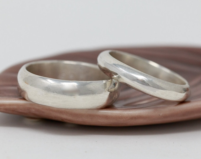Sterling Silver Wedding Ring Set|Sterling Silver Wedding Band Set|His and Her Wedding Ring Set|Silver Wedding Ring Set|Couples Ring Set