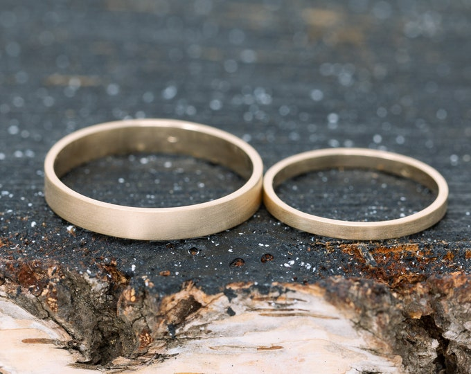 Solid 14K Yellow Gold Wedding Ring Set|Gold Wedding Bands|Gold Wedding Band Set|His and Her Wedding Ring Set|Couples Ring Set|Couples Gift