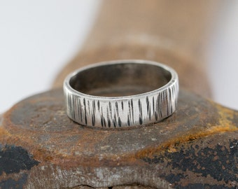 Sterling Silver Ring, Handmade Tree Bark Ring, Unisex Ring, Unique Weddng ring, Monochrome