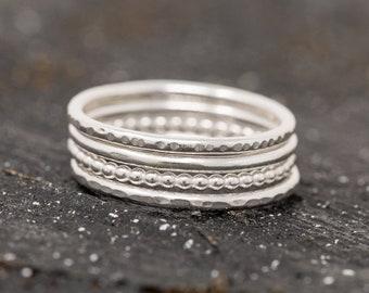 Sterling Silver Minimalist Ring Set|Sterling Silver Stacking Rings Set|Textured Ring Set|Silver Ring Set|Minimalist Ring Set|Gift for Her