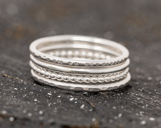 Sterling Silver Minimalist Ring Set|Sterling Silver Stacking Rings Set|Textured Ring Set|Silver Ring Set|Minimalist Ring Set|Gift for Her