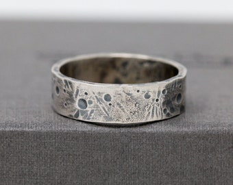 Sterling Silver Celestial Ring, Rustic Ring, Unisex Silver Ring, Celestial Ring, Textured Ring, Mens Ring, Thumb Ring, Gift for Him
