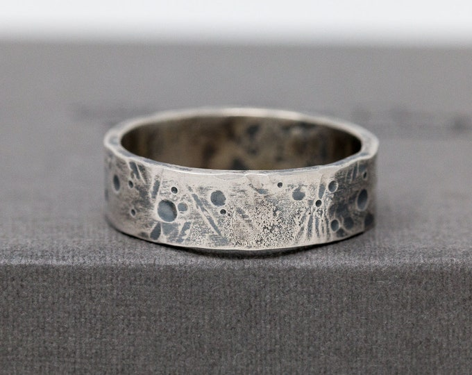 Sterling Silver Celestial Ring|Sterling Silver Rustic Ring|Unisex Silver Ring|Celestial Ring|Textured Ring|Mens Ring|Thumb Ring|Gift for Him