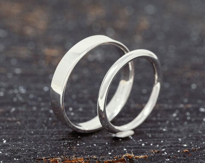 4mm & 2mm Solid 9ct White Gold Wedding Ring Set|White Gold Wedding Band Set|His and Her Wedding Ring Set|White Gold Wedding Ring Set