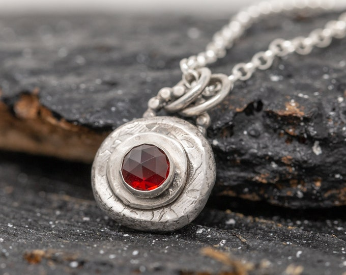 Sterling Silver and Garnet Pendant Necklace|Garnet Necklace|January Birthstone|Silver and Garnet Necklace|Gift for Mother|Gift for