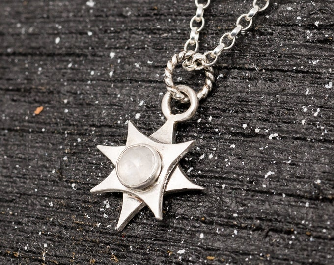 Sterling Silver&Moonstone Necklace|Polaris Necklace|North Star Necklace|Pole Star Necklace|Celestial Necklace|Star Necklace|Gift for Her|