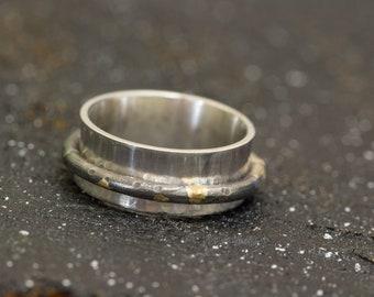 Rustic Ring|Organic Ring|Sterling Silver&24K Gold Spinner Ring|Keumboo Ring|Unisex Ring|Chunky Ring| Handmade Ring|Gift for Him|Gift for Her