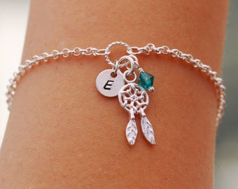 Sterling Silver Dream Catcher Bracelet, Silver Dream Catcher Bracelet, Initial Bracelet, Dream Catcher Bracelet, Dreamcatcher Bracelet