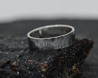 6MM Wide Sterling Silver Rustic Ring, Men's Wedding Band, Unisex Ring, Handmade Embossed Ring, Hammered Ring, Textured Ring, Gift for Her