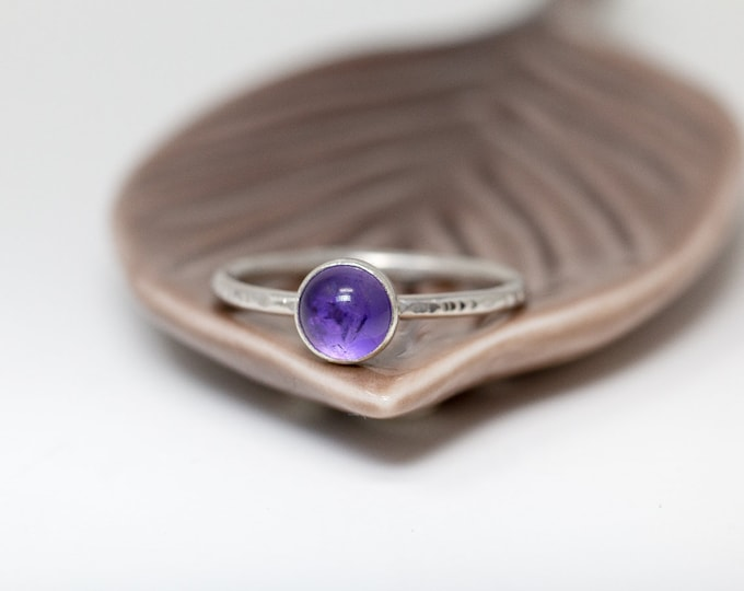 Sterling Silver& Amethyst Ring| Amethyst Ring|Purple Gemstone Ring|Amethyst Cabochon Ring|Natural Gem Ring|Gift for Her|Gift for Mother