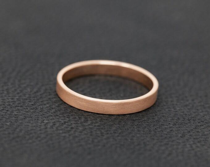 SOLID 9ct Rose Gold Flat Wedding Ring|2MM Rose Gold Matt Wedding Ring|Rose Gold Wedding Ring|Rose Gold Wedding Band|Unisex Wedding Ring