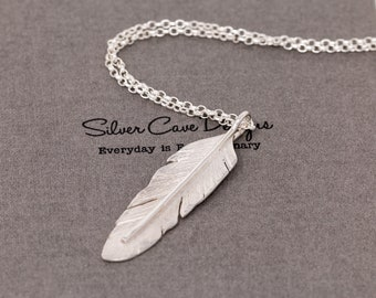 Handmade Sterling Silver Angel Feather Pendant Necklace|3D Large Silver Feather Necklace|Angel Feather Necklace|Gift for Her