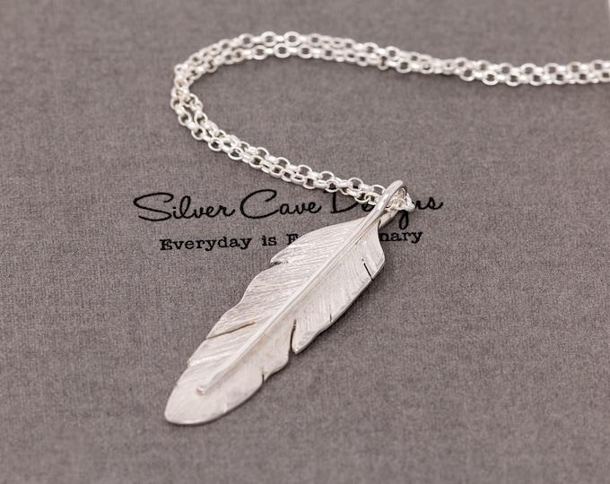 Handmade Sterling Silver Angel Feather Pendant Necklace, 3D Large Bird Feather Necklace, Hand Forged Angel Feather Charm, Gift for Her