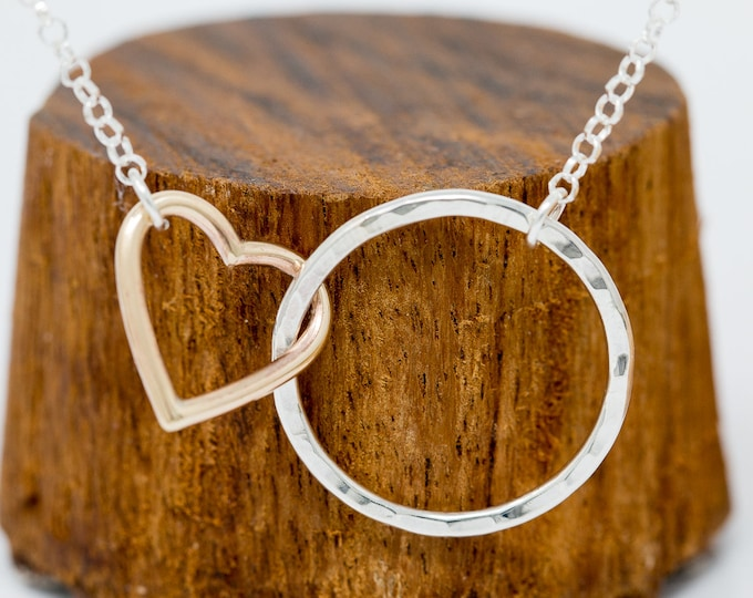 Sterling Silver and 9ct Gold Heart Necklace Gold Heart Necklace Circle Necklace Gift for New Mother Mother's Necklace Gift for Her