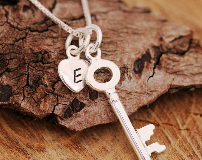 Sterling Silver Key Necklace, Silver Key Necklace, Key Necklace, Birthstone Necklace, Initial Necklace, Silver Heart Necklace, Gift for Her