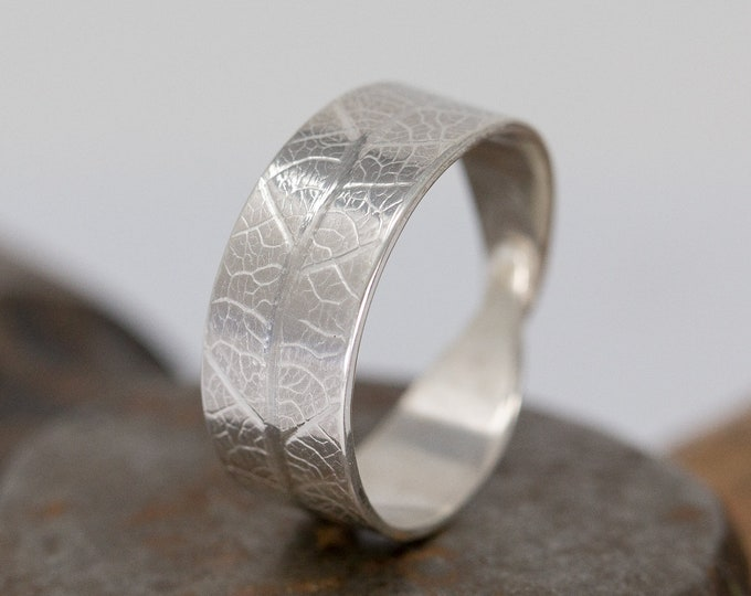 Handmade Sterling Silver Leaf Ring, Unique Wedding Band, Leaf Skeleton Ring, Promise Ring, Gift for her