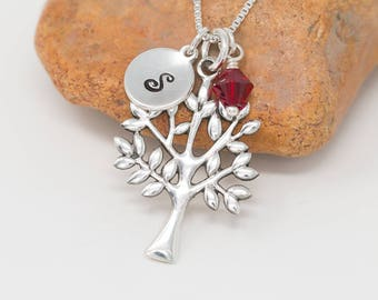 Sterling Silver Tree of Life Necklace|Tree Necklace|Silver Tree Necklace|Birthstone Necklace|Initial Necklace|Gift for Her|Gift for Mother