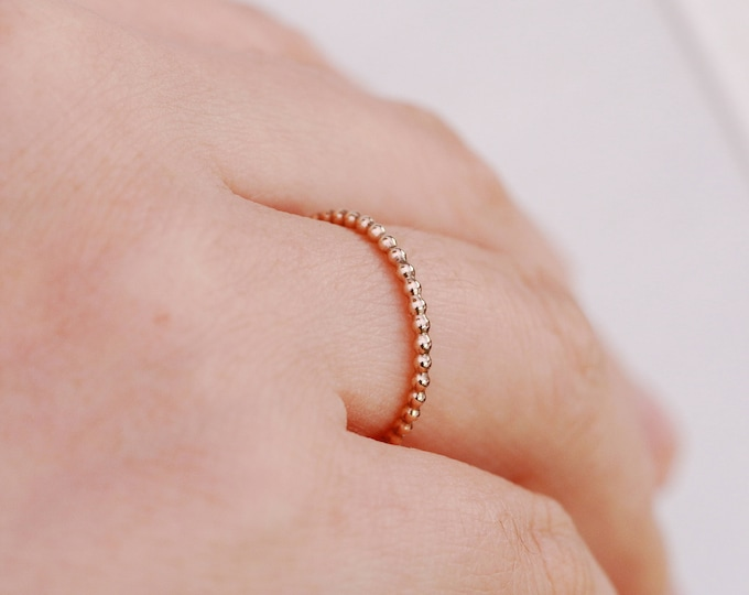 14K Gold Filled Ring|Gold Bubble Ring|1.5mm Gold Filled Bubble Ring|Gold Bead Ring|Gold Filled Bead Ring|Gold Ring|Gold Stacking Ring