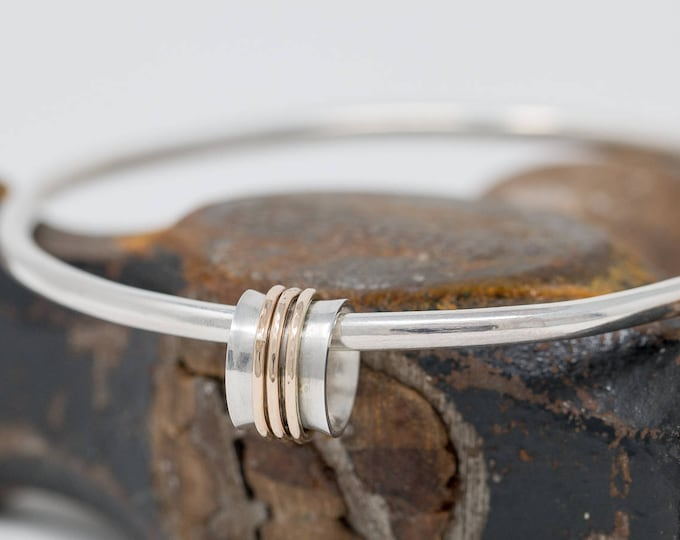 Sterling Silver&9ct Yellow Gold Spinner Bangle|Mixed Metal Spinner Bangle|Meditation Bangle|Spinner Bangle|Fidget Bangle|Mothers Day Gift