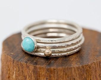 Turquoise Ring Set|Gem Ring Set|Silver&Gold Stacking Ring Set|December Birthstone Ring Set|Stacking Ring Set|Gift for Her|Gift for Mother