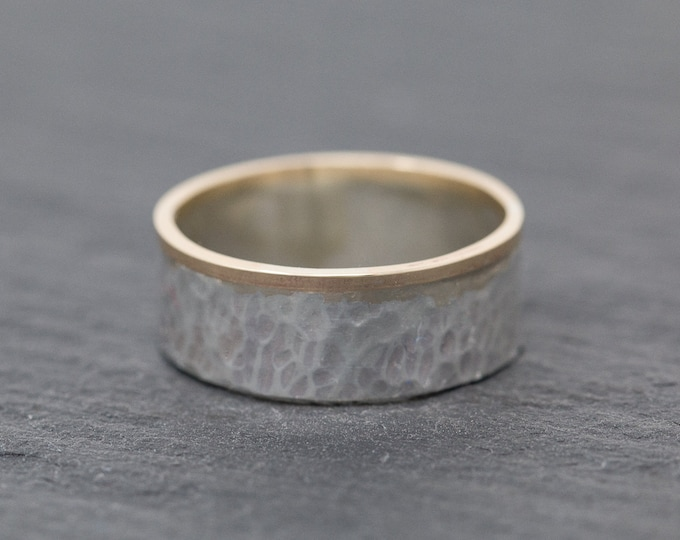 Sterling Silver&9ct Gold Wedding Band|Mixed Metal Ring Band|Textured Unisex Ring Band|Minimalist Ring|Minimalist Band|Mens Ring|Gift for Him