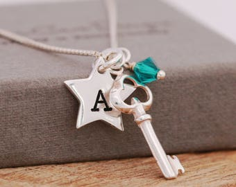 Sterling Silver Key Necklace, Personalised, Sterling Silver Star Necklace, Wishing Star Necklace, Initial Necklace, Birthstone Necklace