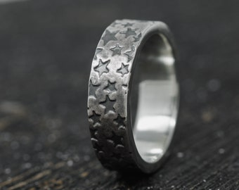 7.5mm Wide Sterling Silver Star Cluster Ring, Sterling Silver Chunky Ring, Sterling Silver Stars Ring, Celestial Ring, Unisex Ring