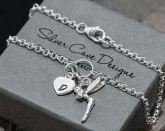 Sterling Silver Fairy Bracelet|Silver Tinker Bell Bracelet|Tinkerbell Bracelet|Fairy Bracelet|Initial Bracelet|Gift for Her|Girls Bracelet