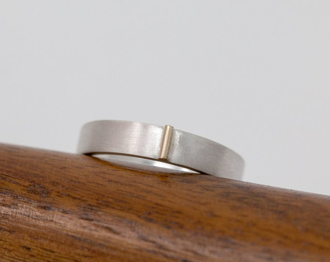 Sterling Silver&9ct Gold Wedding Band|Mixed Metal Ring Band|Unisex Ring Band|Minimalist Ring|Minimalist Band|Mens Ring|Gift for Her