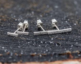 Sterling Silver Bar Stud Earrings|Silver Bar Earrings|Unisex Earrings|Rough Stone Textured|Stick Earrings|Gift for Him|Gift for Her