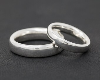 Sterling Silver Wedding Ring Set Sterling Silver Comfort Fit Wedding Band Set His and Her Wedding Ring Set Wedding Ring Set Couples Ring Set