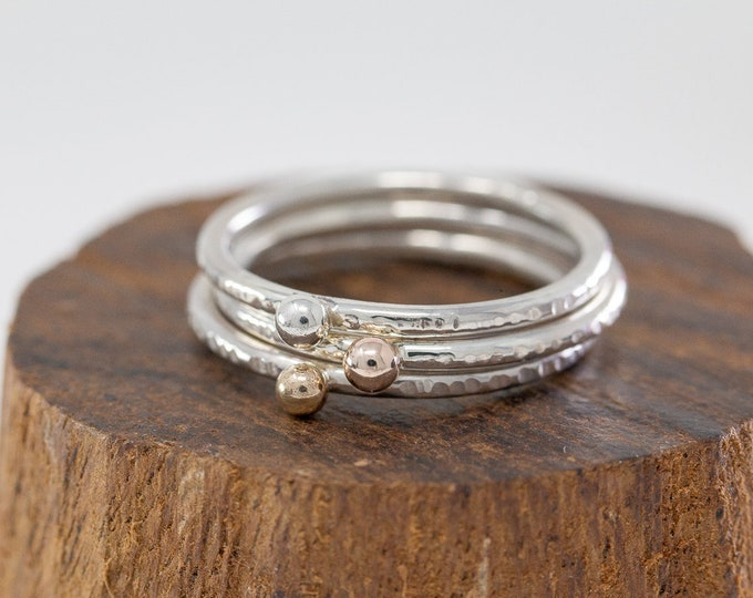 Sterling Silver, 9ct Yellow Gold&9ct Rose Gold Dot Ring Set|Silver and Gold Ring Set|Triple Coloured Metal Ring Set|Minimalist|Gift for Her