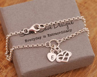 Sterling Silver Infinity Knot Bracelet, Infinity Heart Bracelet, Silver Infinity Heart Bracelet, Silver Initial Bracelet, Gift for Her