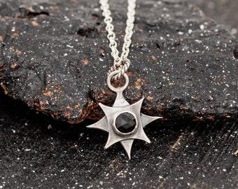 Sterling SilverBlack Gemstone Necklace Polaris Necklace North Star Necklace Pole Star Necklace Celestial Necklace Star Necklace Gift for Her